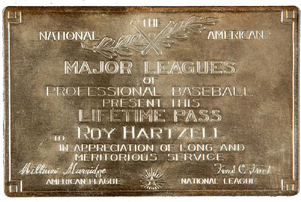ROY HARTZELLS SILVER LIFETIME BASEBALL PASS