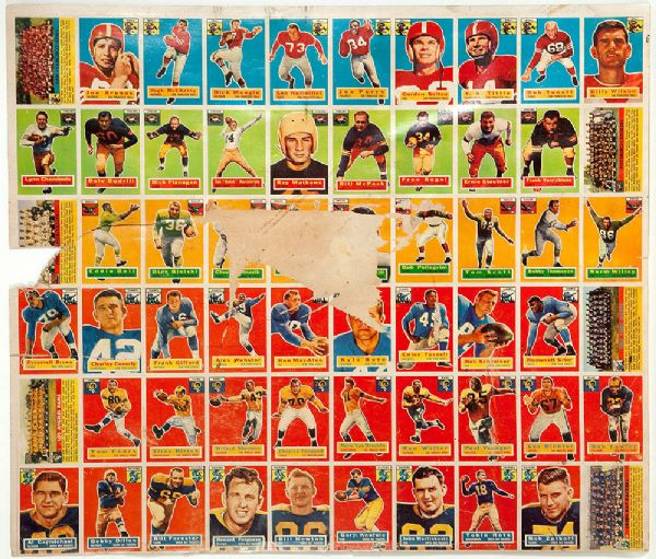 1956 TOPPS FOOTBALL CARD UNCUT SHEET - 60 CARDS