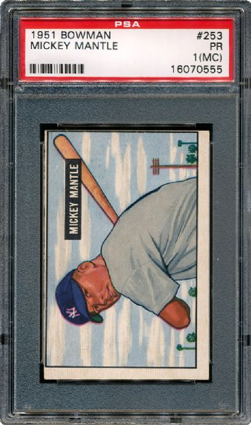 1951 BOWMAN #253 MICKEY MANTLE ROOKIE PR PSA 1 (MC)