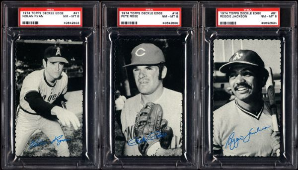 1974 TOPPS DECKLE EDGE PSA 8 NM-MT GRADED LOT OF 3 - RYAN, ROSE, AND JACKSON