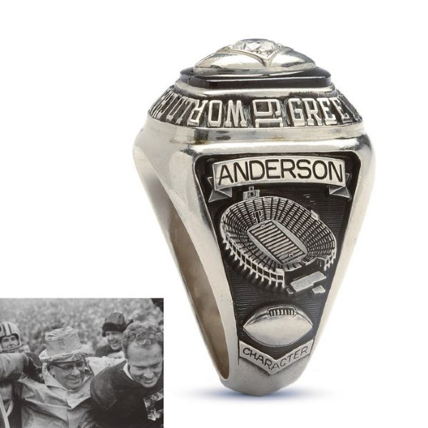 SCOUT/RECRUITER LEW ANDERSONS 1965 GREEN BAY PACKERS NFL 10K GOLD AND DIAMOND CHAMPIONSHIP RING