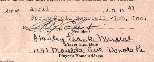 STAN MUSIALS 1941 SPRINGFIELD MINOR LEAGUE CONTRACT - SIGNED 6 MONTHS BEFORE HIS MAJOR LEAGUE DEBUT