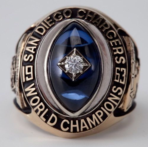 FRED MOORES 1963 SAN DIEGO CHARGERS WORLD CHAMPIONSHIP RING