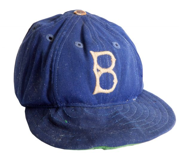 CIRCA 1940S BROOKLYN DODGERS CAP ATTRIBUTED TO JACKIE ROBINSON - WITH CUSTOM PROTECTIVE INSERTS