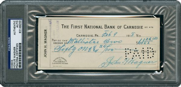 HONUS WAGNER SIGNED CHECK