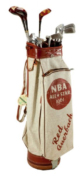 RED AUERBACHS FULL SET OF GOLF CLUBS IN CUSTOM RED AUERBACH 1961 NBA ALL-STAR GAME BAG