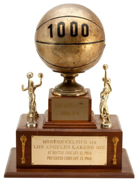RED AUERBACHS 1,000TH CAREER WIN TROPHY PRESENTED TO HIM ON FEBRUARY 13TH, 1966 AT BOSTON GARDEN WITH RELATED PHOTO