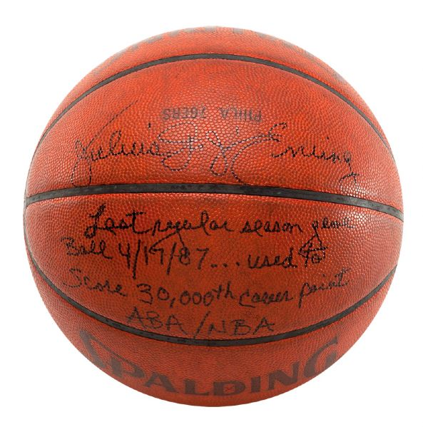 "JULIUS ""DR. J"" ERVINGS SIGNED AND INSCRIBED GAME BASKETBALL FROM FINAL NBA REGULAR SEASON GAME IN WHICH HE SURPASSED 30,000 CAREER POINTS"