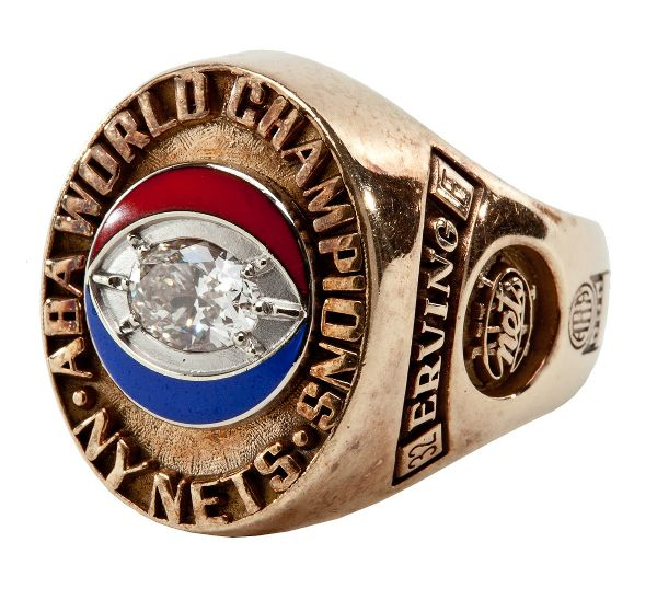 "JULIUS ""DR. J"" ERVINGS 1974 NEW YORK NETS ABA WORLD CHAMPIONSHIP RING"