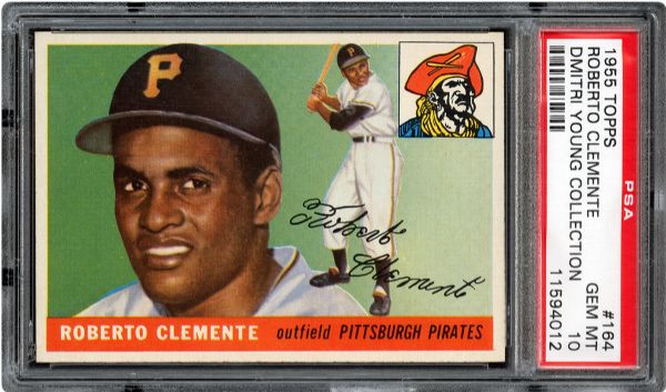1955 TOPPS #164 ROBERTO CLEMENTE GEM MINT PSA 10 (1/1) - DMITRI YOUNG COLLECTION