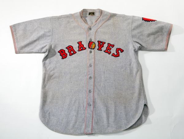 1933-34 WALLY BERGER BOSTON BRAVES GAME WORN ROAD JERSEY WITH POSSIBLE 1935 ATTRIBUTION TO BABE RUTH (BERGER FAMILY LOA, EX-DAVID WELLS COLLECTION)