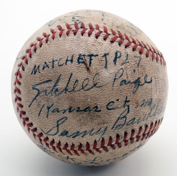 RARE AND SIGNIFICANT 1942 NEGRO LEAGUE AUTOGRAPHED BASEBALL WITH FOUR HALL OF FAMERS INCL. JOSH GIBSON AND SATCHEL PAIGE (EX-DAVID WELLS COLLECTION)