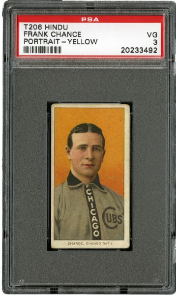 1909-11 T206 RED HINDU BACK FRANK CHANCE (PORTRAIT - YELLOW) VG PSA 3 (1/1)
