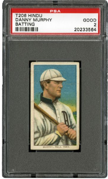 1909-11 T206 RED HINDU BACK DANNY MURPHY (BATTING) G PSA 2 (1/1)