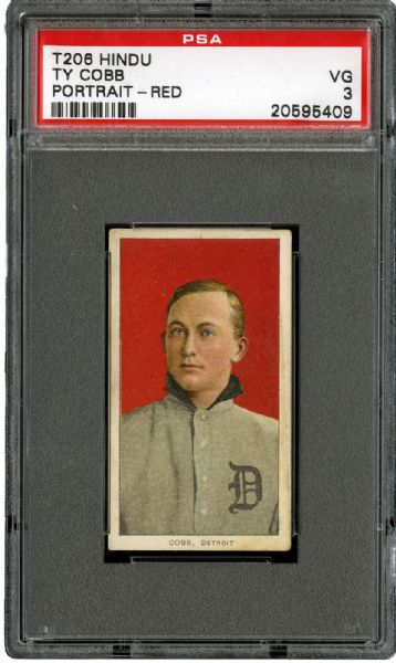 1909-11 T206 RED HINDU TY COBB (PORTRAIT - RED) VG PSA 3
