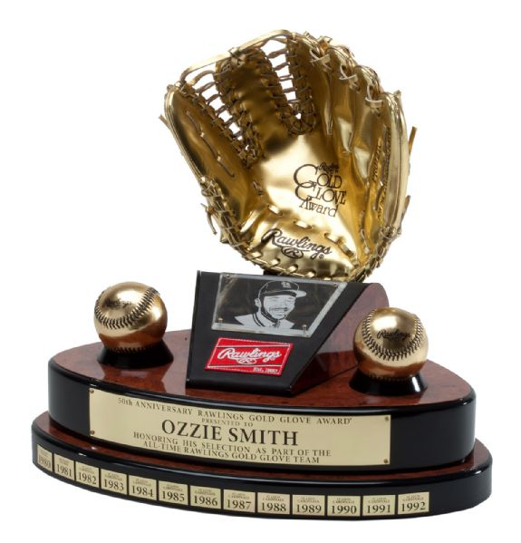 OZZIE SMITH'S RAWLINGS 50TH ANNIVERSARY ALL-TIME GOLD GLOVE TEAM TROPHY