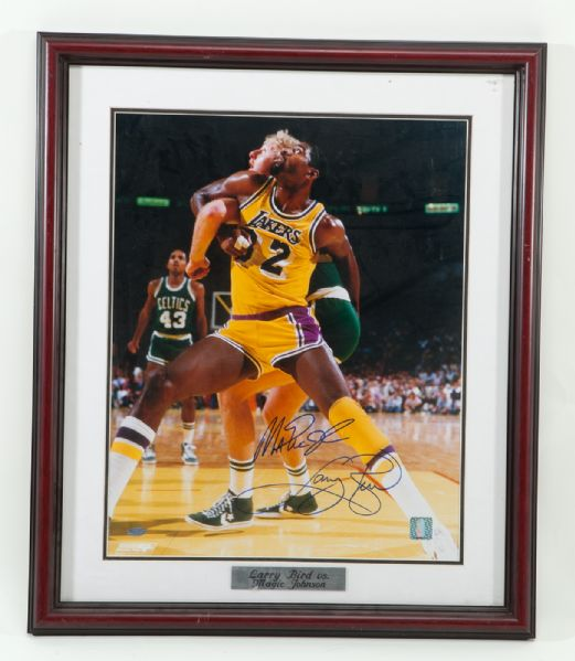 LARRY BIRD AND MAGIC JOHNSON SIGNED AND FRAMED 16 X 20 ACTION PHOTO STEINER COA