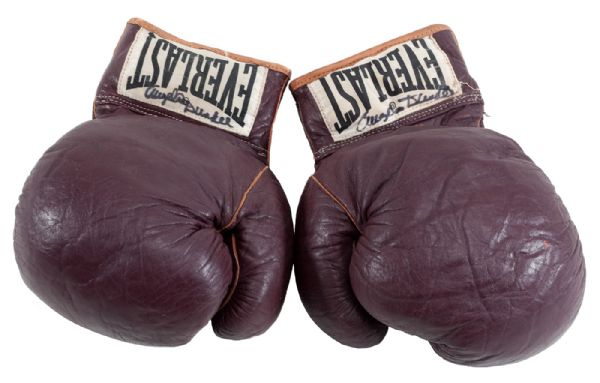 MUHAMMAD ALIS FIGHT-WORN GLOVES FROM 1966 BOUT VS. GEORGE CHUVALO