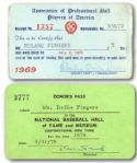 ROLLIE FINGERS 1969 SIGNED PLAYERS ASSOCIATION PASS AND HALL OF FAME DONOR CARD (FINGERS LOA)