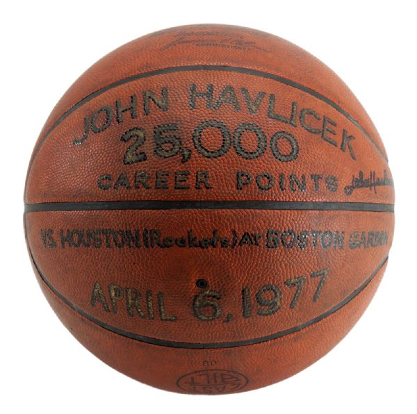JOHN HAVLICEK'S 1977 SIGNED OFFICIAL WILSON NBA GAME BASKETBALL USED TO SCORE 25,000TH POINT (HAVLICEK LOA)