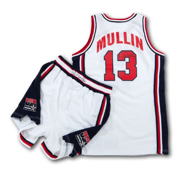 CHRIS MULLINS 1992 OLYMPIC (USA DREAM TEAM) GAME WORN AND SIGNED JERSEY AND SHORTS (MULLIN LOA)
