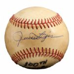 ROLLIE FINGERS SEP. 9, 1980 SIGNED AND INSCRIBED 100TH MAJOR LEAGUE WIN GAME USED BASEBALL (FINGERS LOA)