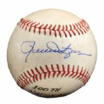 ROLLIE FINGERS AUG. 8, 1980 SIGNED AND INSCRIBED 100 NL SAVE GAME USED BASEBALL (FINGERS LOA)