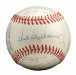 ROLLIE FINGERS 1972 WORLD CHAMPION OAKLAND AS TEAM SIGNED BASEBALL (FINGERS LOA)