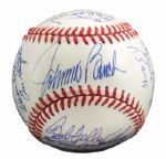 ROLLIE FINGERS MULTI-SIGNED HALL OF FAME INDUCTION BASEBALL INCL. DIMAGGIO (FINGERS LOA)