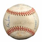 ROLLIE FINGERS 1973 WORLD CHAMPION OAKLAND AS TEAM SIGNED BASEBALL (FINGERS LOA)