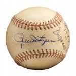 ROLLIE FINGERS 1974 WORLD SERIES GAME 1 SIGNED AND INSCRIBED GAME USED BASEBALL (FINGERS LOA)