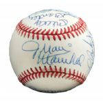ROLLIE FINGERS MULTI-SIGNED HALL OF FAME INDUCTION BASEBALL INCL. MANTLE (FINGERS LOA)