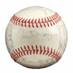 ROLLIE FINGERS 1968 OAKLAND AS TEAM SIGNED BASEBALL WITH JOE DIMAGGIO (FINGERS ROOKIE SEASON) (FINGERS LOA)