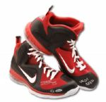 "UPPER DECK AUTHENTICATED LEBRON JAMES SIGNED AND INSCRIBED ""3/13/12"" GAME USED SHOES"