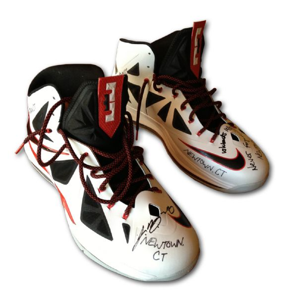 "UPPER DECK AUTHENTICATED LEBRON JAMES SIGNED AND INSCRIBED ""NEWTOWN CT"" GAME WORN SHOES (PROCEEDS TO BENEFIT NEWTOWN MEMORIAL FUND THROUGH LEBRON JAMES FAMILY FOUNDATION)"