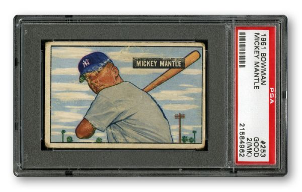 1951 BOWMAN #253 MICKEY MANTLE ROOKIE GD PSA 2 (MK)