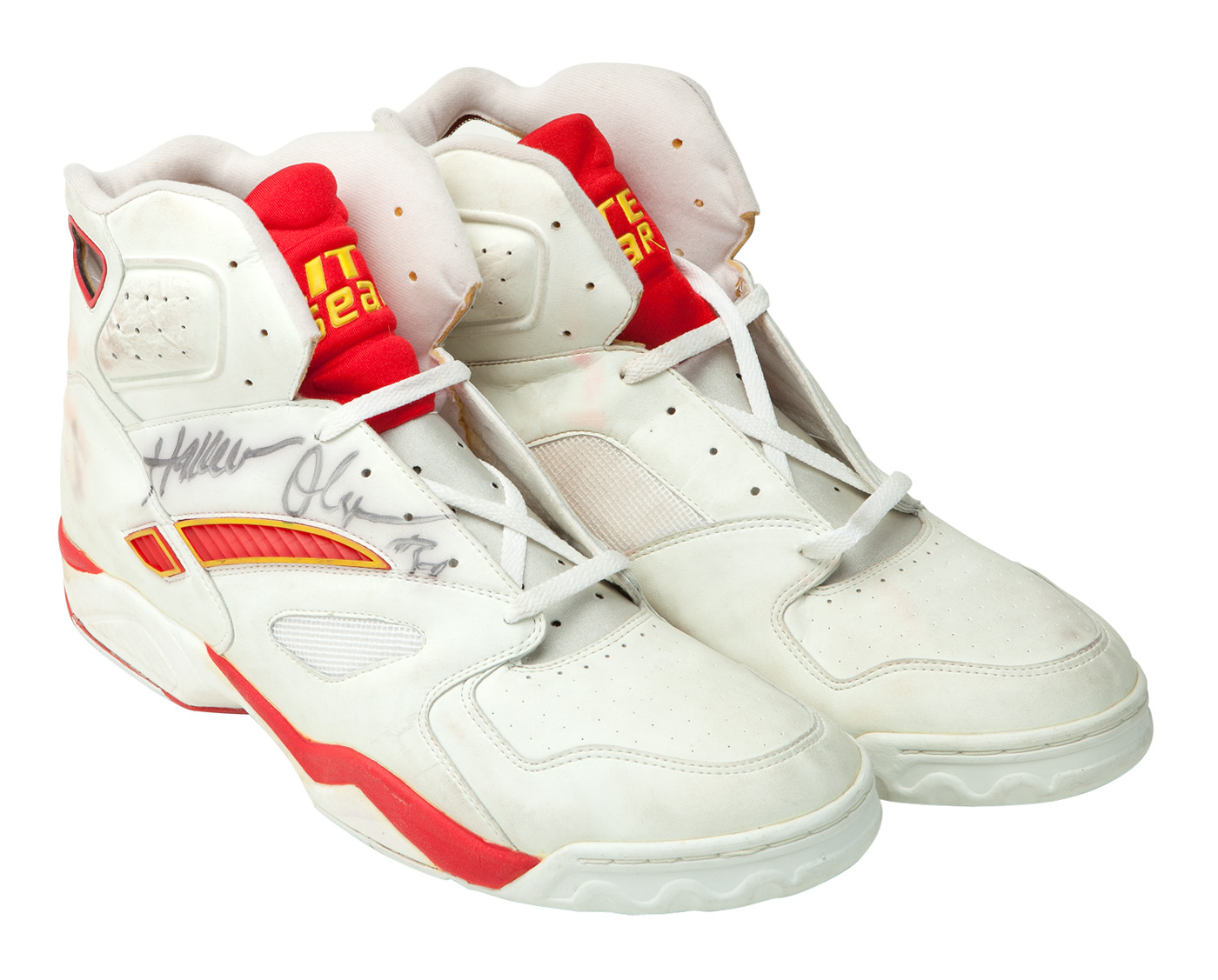HAKEEM OLAJUWON SIGNED GAME WORN LITE GEAR SHOES WITH THE DREAM
