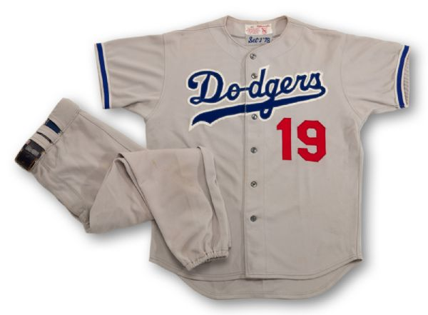 1978 JIM GILLIAM LOS ANGELES DODGERS GAME WORN ROAD JERSEY AND 1978 RED ADAMS LOS ANGELES DODGERS GAME WORN ROAD PANTS