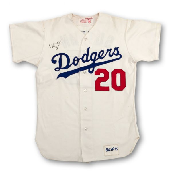 1975 DON SUTTON LOS ANGELES DODGERS GAME WORN AND SIGNED HOME JERSEY (MEARS A9)