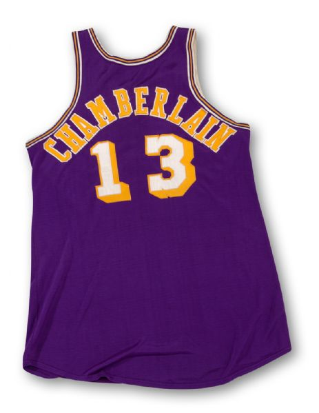 EXCEPTIONAL LATE 1960S WILT CHAMBERLAIN LOS ANGELES LAKERS GAME-WORN ROAD JERSEY (MEARS A10)