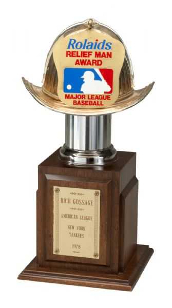 GOOSE GOSSAGES 1978 SIGNED NEW YORK YANKEES AMERICAN LEAGUE ROLAIDS RELIEF FIREMAN OF THE YEAR TROPHY (GOSSAGE LOA)