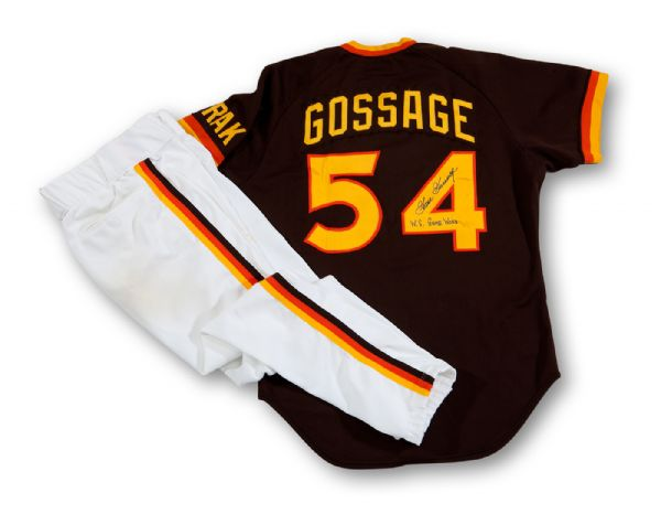 GOOSE GOSSAGES 1984 SAN DIEGO PADRES WORLD SERIES GAME WORN & SIGNED ROAD UNIFORM (GOSSAGE LOA)