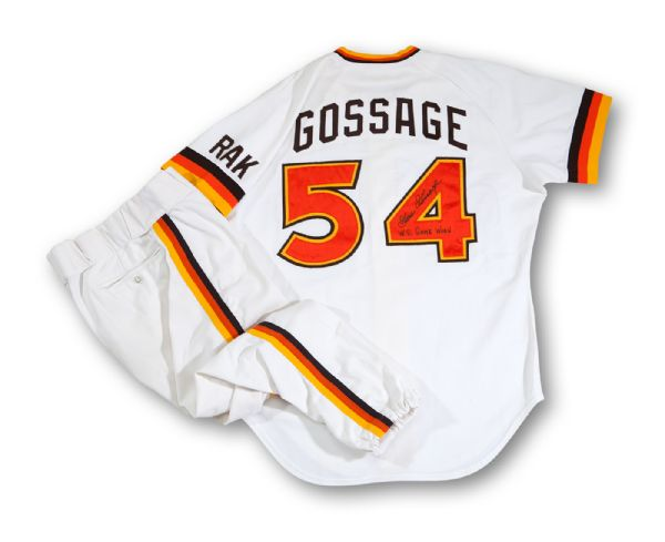 GOOSE GOSSAGES 1984 SAN DIEGO PADRES WORLD SERIES GAME WORN & SIGNED HOME UNIFORM (GOSSAGE LOA)
