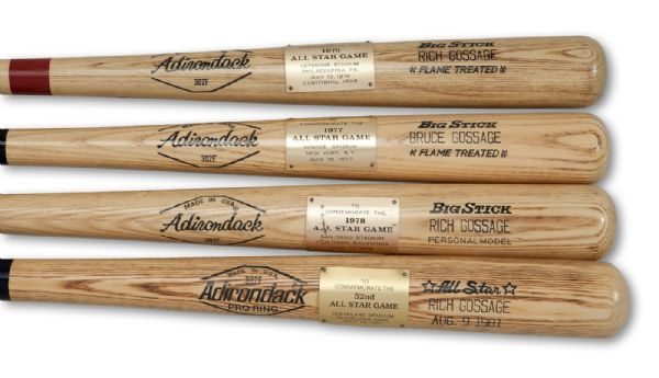 GOOSE GOSSAGES 1976, 1977, 1978 & 1981 MAJOR LEAGUE BASEBALL ALL-STAR GAME COMMEMORATIVE ADIRONDACK BATS (GOSSAGE LOA)