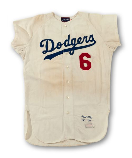 1970 STEVE GARVEY LOS ANGELES DODGERS GAME WORN AND SIGNED ROOKIE HOME FLANNEL JERSEY