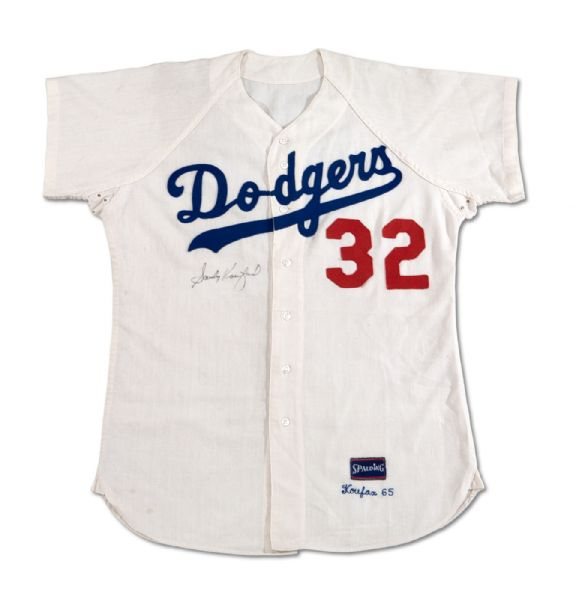 1965 SANDY KOUFAX AUTOGRAPHED LOS ANGELES DODGERS (WORLD CHAMPIONSHIP AND CY YOUNG SEASON) GAME WORN HOME JERSEY (MEARS A9.5, NSM COLLECTION)