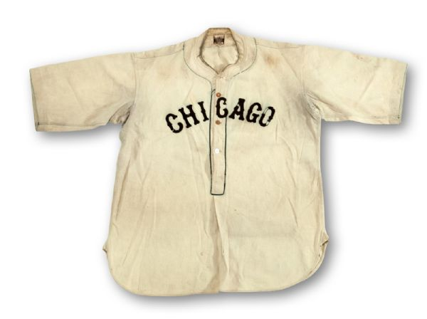 RARE AND IMPORTANT C.1927 WILLIE FOSTER CHICAGO AMERICAN GIANTS NEGRO LEAGUE GAME WORN JERSEY (NEWLY DISCOVERED) - MEARS A8
