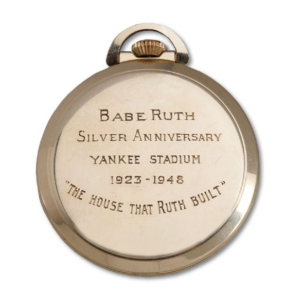 "BABE RUTHS GOLD POCKET WATCH PRESENTED TO HIM BY THE NEW YORK YANKEES DURING HIS LAST APPEARANCE AT YANKEE STADIUM ""THE BABE BOWS OUT"" ON JUNE 13TH, 1948 (RUTH FAMILY LOA)"
