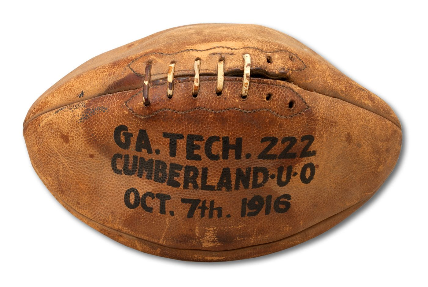 Lot Detail October 7 1916 Georgia Tech Coached By John Heisman Vs Cumberland Game Used Football From Most Lopsided Score 222 0 In History Helms La84 Collection