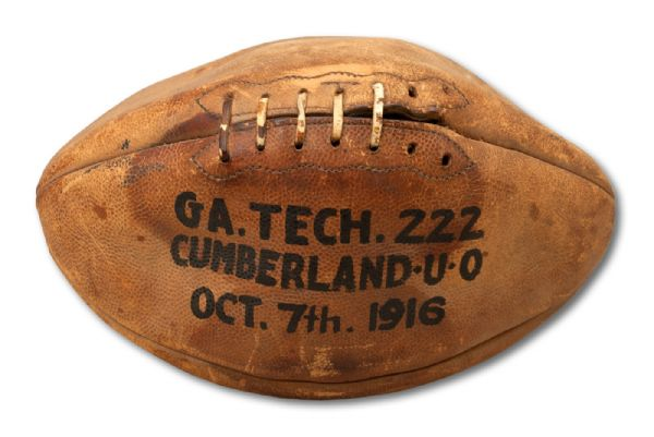 OCTOBER 7, 1916 GEORGIA TECH (COACHED BY JOHN HEISMAN) VS. CUMBERLAND GAME USED FOOTBALL FROM MOST LOPSIDED SCORE (222-0) IN HISTORY  (HELMS/LA84 COLLECTION)